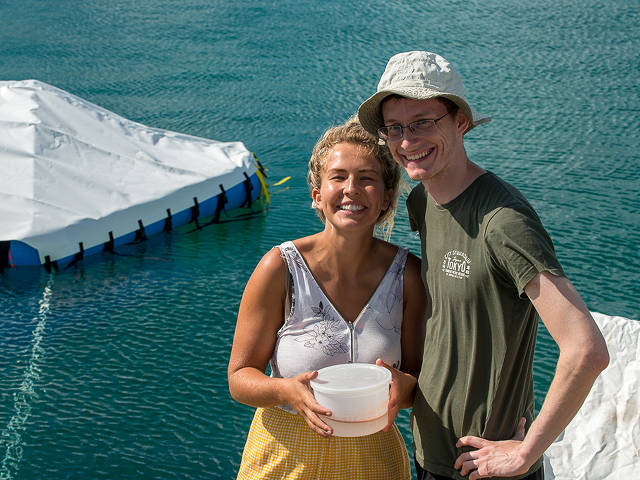 proud 'parents' with coral larvae: Lily Haines (PIMS) and John Parkinson (SECORE)